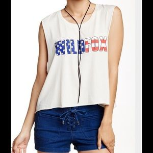 Wildfox American Flag Print Graphic Muscle Tank